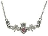 ShanOre® Claddagh Shamrock Design with 5mm Simulated Pink Tourmaline (CZ) Heart Pendant Necklace style: MP1SPT