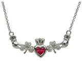 ShanOre® Claddagh Shamrock Design with 5mm Simulated Ruby (CZ) Heart Pendant Necklace style: MP1SRB
