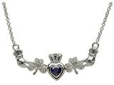 ShanOre® Claddagh Shamrock Design with 5mm Simulated Sapphire (CZ) Heart Pendant Necklace style: MP1SS