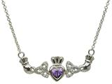 ShanOre® Claddagh Trinity Design with 5mm Simulated Amethyst (CZ) Heart Pendant Necklace style: MP1TAM