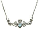 ShanOre® Claddagh Trinity Design with 5mm Simulated Aquamarine (CZ) Heart Pendant Necklace style: MP1TAQ