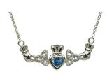 ShanOre® Claddagh Trinity Design with 5mm Simulated Blue Topaz (CZ) Heart Pendant Necklace style: MP1TBT