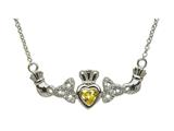 ShanOre® Claddagh Trinity Design with 5mm Simulated Citrine (CZ) Heart Pendant Necklace style: MP1TCIT