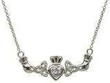 ShanOre® Claddagh Trinity Design with 5mm Simulated Cubic Zirconia (CZ) Heart Pendant Necklace style: MP1TCZ