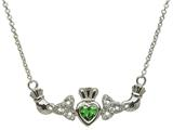 ShanOre® Claddagh Trinity Design with 5mm Simulated Emerald (CZ) Heart Pendant Necklace style: MP1TEM
