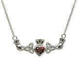 ShanOre® Claddagh Trinity Design with 5mm Simulated Garnet (CZ) Heart Pendant Necklace style: MP1TG