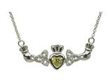 ShanOre® Claddagh Trinity Design with 5mm Simulated Peridot (CZ) Heart Pendant Necklace style: MP1TP