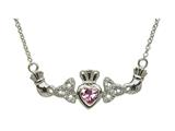 ShanOre® Claddagh Trinity Design with 5mm Simulated Pink Tourmaline (CZ) Heart Pendant Necklace style: MP1TPT