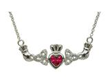 ShanOre® Claddagh Trinity Design with 5mm Simulated Ruby (CZ) Heart Pendant Necklace style: MP1TRB
