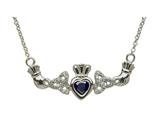 ShanOre® Claddagh Trinity Design with 5mm Simulated Sapphire (CZ) Heart Pendant Necklace style: MP1TS
