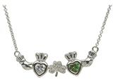 ShanOre® Claddagh Shamrock Mothers Pendant Necklace Personalize with 2 5mm Heart Shape CZ Stones style: MP2S