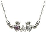 ShanOre® Claddagh Trinity Mothers Pendant Necklace Personalize with 2 5mm Heart Shape CZ Stones style: MP2T
