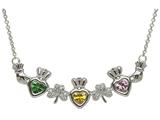 ShanOre® Claddagh Shamrock Mothers Pendant Necklace Personalize with 3 5mm Heart Shape CZ Stones style: MP3S