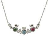 ShanOre® Claddagh Trinity Mothers Pendant Necklace Personalize 3 5mm Heart Shape Simulated Birthstones style: MP3T