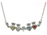 ShanOre® Claddagh Shamrock Mothers Pendant Necklace Personalize 4 5mm Heart Shape Simulated Birthstones style: MP4S
