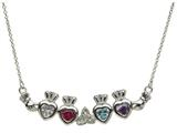 ShanOre® Claddagh Trinity Mothers Pendant Necklace Personalize 4  5mm Heart Shape Simulated Birthstones style: MP4T