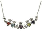 ShanOre® Claddagh Trinity Mothers Pendant Necklace Personalize 5 5mm Heart Shape Simulated Birthstones style: MP5T