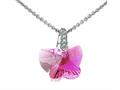 925 Sterling Silver Pink Color Crystal Butterfly Pendant Necklace made with Swarovski Elements