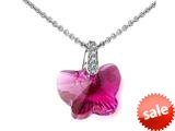 925 Sterling Silver Pink Color Crystal Butterfly Pendant made with Swarovski Elements style: SF1030