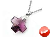 925 Sterling Silver Purple Color Crystal Cross Pendant made with Swarovski Elements on 18 Inch Chain style: SF1032
