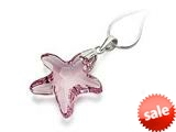 925 Sterling Silver Light Purple Color Crystal Starfish Pendant Necklace made with Swarovski Elements on 18 Inch Cha style: SF1039