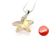925 Sterling Silver Yellow Color Crystal Starfish Pendant Necklace made with Swarovski Elements style: SF1044CD