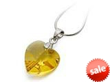 925 Sterling Silver Yellow Color Crystal Heart Pendant Necklace made with Swarovski Elements 18 Inch style: SF1046