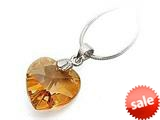 925 Sterling Silver Orange Color Crystal Heart Pendant Necklace made with Swarovski Elements on 18 Inch Chain style: SF1047