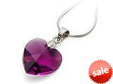 925 Sterling Silver Dark Purple Color Crystal Heart Pendant Necklace made with Swarovski Elements style: SF1049