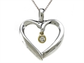 Genuine Heart Shaped Pendant Necklace with a Diamond Dangle