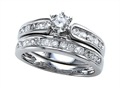 Finejewelers 14k White Gold Round Diamonds Wedding Engagement Ring Set - IGI Certified