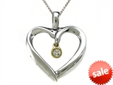 Genuine Heart Shaped Pendant Necklace with a Diamond Dangle style: SK1595