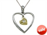 Genuine Heart Shaped Pendant Necklace with a Diamond Heart Dangle style: SK8703