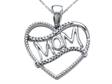 Genuine Heart Shaped Mom Pendant with Round Diamonds style: SK12177