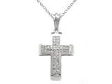 10K White Gold Genuine Diamond Cross Pendant style: SK13414