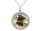 Sterling Silver Pisces Zodiac Diamond Pendant style: SK16208