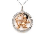 Sterling Silver Sagittarius Zodiac Diamond Pendant style: SK16212