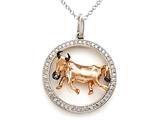 Sterling Silver Taurus Zodiac Diamond Pendant style: SK16215
