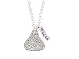 Sterling Silver with CZ Small Flat Back Shaped Hershey`s Kiss Pendant Necklace style: AK0067PCZ000SS