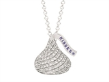 Sterling Silver with CZ Medium Flat Back Shaped Hershey`s Kiss Pendant Necklace style: AK0068PCZ000SS