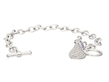 Sterling Silver with CZ Small Flat Back Shaped Hershey`s Kiss Bracelet with One Hershey`s Kiss style: AK0079BCZ0X1SS