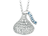 "April Birth Month CZ""s Medium Flat Back Shaped Hershey`s Kiss Pendant Necklace- Chain Included style: AK0237PWCZ00SS"