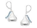 Sterling Silver Medium Flat Back Shaped Hershey`s Kiss Lever Back Earrings