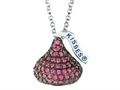 "July Birth Month CZ""s Medium Flat Back Shaped Hershey`s Kiss Pendant Necklace- Chain Included"