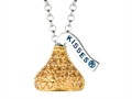 "November Birth Month CZ""s Small Flat Back Shaped Hershey`s Kiss Pendant Necklace- Chain Included"