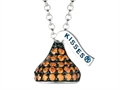 "January Birth Month CZ""s Small Flat Back Shaped Hershey`s Kiss Pendant Necklace- Chain Included"