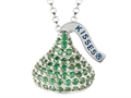 "August Birth Month CZ""s Medium Flat Back Shaped Hershey`s Kiss Pendant Necklace- Chain Included"