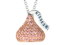 "October Birth Month CZ""s Medium Flat Back Shaped Hershey`s Kiss Pendant Necklace- Chain Included"