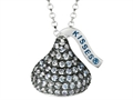 "June Birth Month CZ""s Medium Flat Back Shaped Hershey`s Kiss Pendant Necklace- Chain Included"
