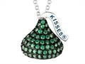 "May Birth Month CZ""s Medium Flat Back Shaped Hershey`s Kiss Pendant Necklace- Chain Included"